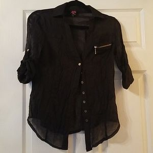 Bebe sheer shimmery black top w gold accents